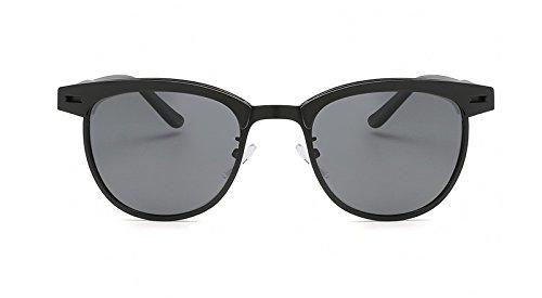 Mode UV400 gray Cadre Lunettes Classique Conduite JCH de Marque Black Hommes de Demi Soleil Lunettes Polarisé Unisexe Métal Soleil De 8x8HwpT