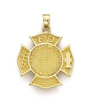 Pour 14 Carats Pendentif pompier JewelryWeb