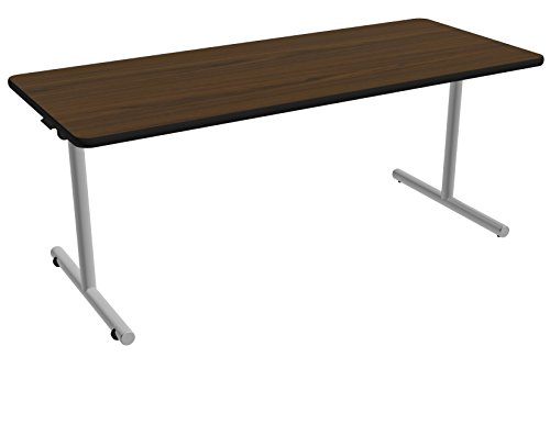 Nomad by Palmer Hamilton ATTGOF293072-MWMSPVC Folding Leg Standard Weight Aero GO T-Base Table with Built in Casters, Metallic Silver Frame, Black PVC, 72