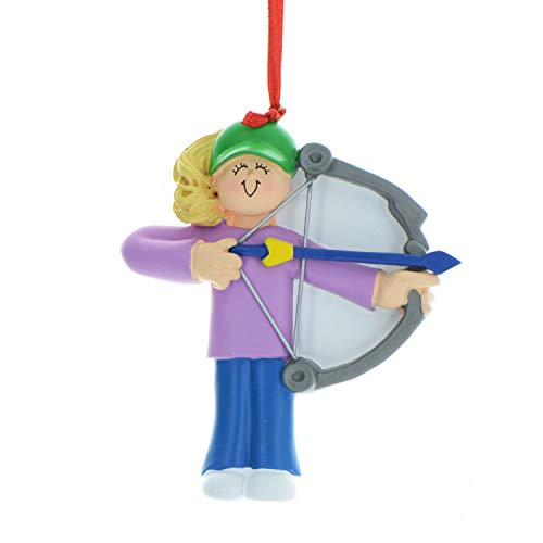Personalized Archery Christmas Tree Ornament 2019 - Blonde Girl Practice Shooting Bow Arrow Target Professional Hunting Hobby Sport Recreational Activity - Free Customization (Female Yellow) (Best Shotgun For Deer Hunting 2019)