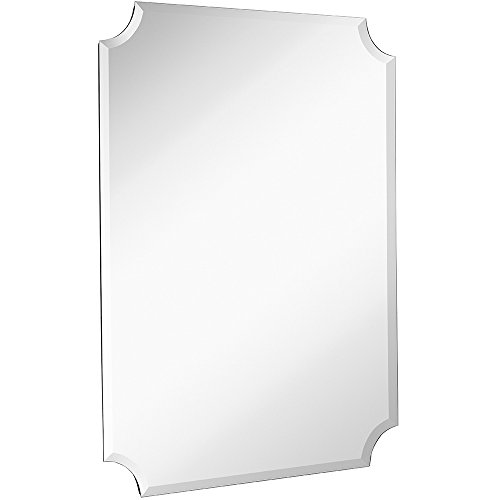 Large Beveled Scalloped Edge Rectangular Wall Mirror | 1 inch Bevel Curved - Decorative Transitional Mirrors Bathroom