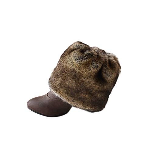 Tngan Womens Faux Fur Leg Warmers Boot Covers Furry Boot Cuff Short Boot Sleeves Brown 20cm]()