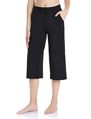 TSLA Loungewear 20 inches Capri Comfy Soft Peachskin Leisure Casual Yoga Active with Pockets, Capri 20inch(fbc40) - Black, Large