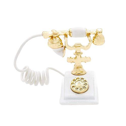 Odoria 1:12 Miniature Old-Fashioned White Rotary Telephone Dollhouse Decoration Accessories