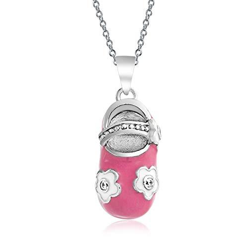 (Baby Shoe Charm Pendant Gift for New Mother Women Pink White Enamel Flower Engravable 925 Sterling Silver )