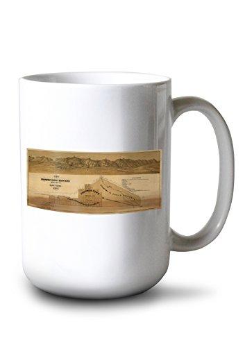Lantern Press Panamint Range Mountains, California Panoramic Map (15oz White Ceramic Mug)