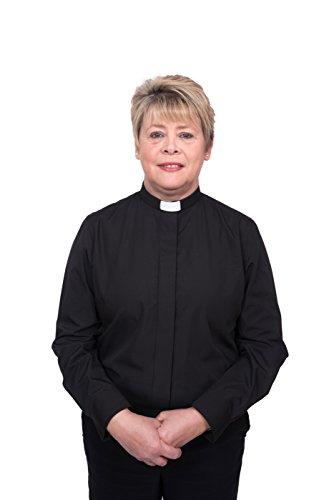 Ladies Clergy Shirt - Tab Collar Long Sleeve (12, Black)