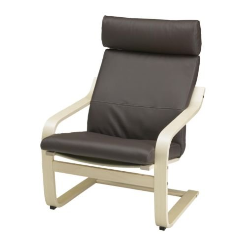 Ikea Poang Armchair Birch Veneer with Robust Dark Brown Leather Cushion, Frame and Cover by IKEA