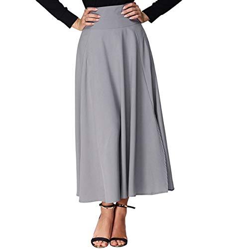 Xsayjia Jupe Longue Femme lgante Vintage Haute Taille Casual Plisse Maxi Jupe avec Poches Grey