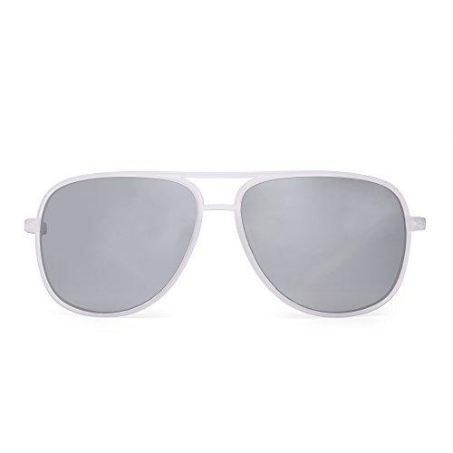 Silver Transparent Frame (Retro Polarized Aviator Sunglasses Mirror Lightweight Eyeglasses for Men Women (Transparent/Polarized Mirrored Silver))