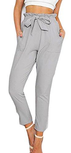 Pandapang Women's Casual Solid Color Elastic Wasit Slim Ankle Length Pants Gray Medium