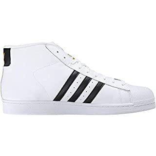 adidas Originals Men's Pro Model Fashion Sneaker, White/Black/White, 12 M US