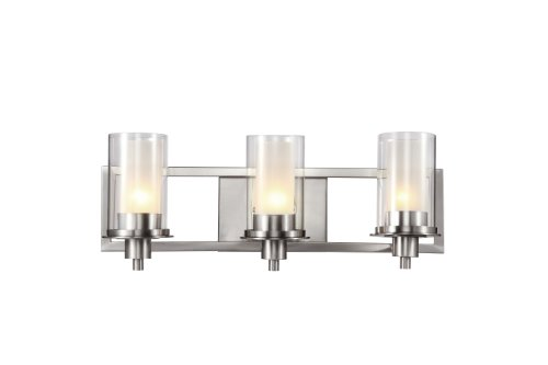 Trans Globe Lighting 20043 Square Three Light Wall Bar, Nickel