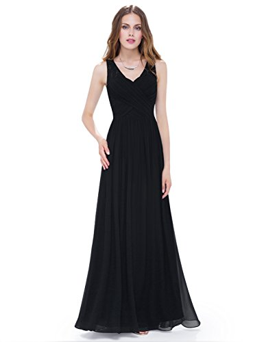 - Ever-Pretty Womens Long Chiffon Bridesmaids Dress with Corset 6 US Black