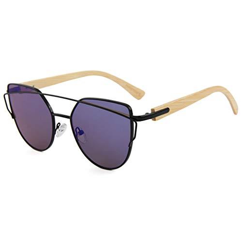 en Femme avec Protection Purple Soleil pour de Soleil 100 Bambou lentille de Bambou Soleil Couleur colorée UV400 Purple métal Lunettes Lunettes Lunettes Lunettes avec en fwxIq60w