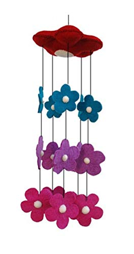 Cascading Pink Purple Blue Red Flower Waterfall Theme - Hanging Baby Nursery Decor Crib Mobile - Handmade 100% Natural Felted Wool (Blue Purple Pink) ()