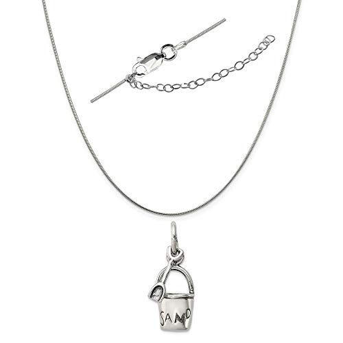 Sterling Silver Antiqued Sand Bucket and Shovel Charm on a Snake Chain, 18