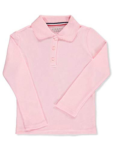 French Toast Girls' L/S Fitted Knit Polo with Picot Collar - Pink, 4/5