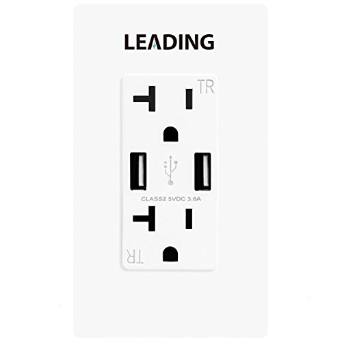LEADING 20A Receptacle Outlet with 3.6A Dual USB Chargers, 20A/125V/2500W, Tamper Resistant Duplex Outlets, UL (Plaza Receptacle)