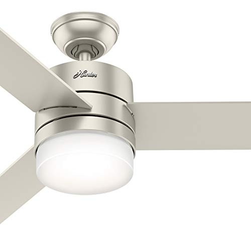 Hunter Fan 54 inch Matte Nickel Ceiling Fan with LED Lights and Remote Control, 3 Blade (Renewed)