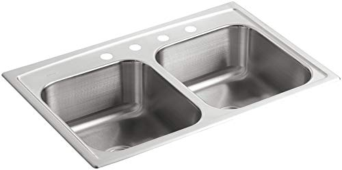 - KOHLER K-3346-4-NA Toccata Double Equal Self-Rimming Kitchen Sink, Stainless Steel