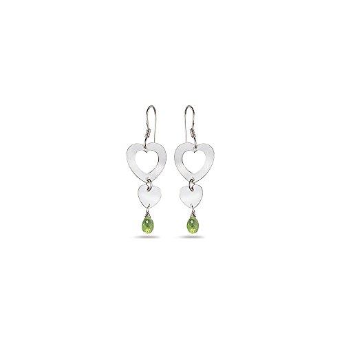 1.50 Cts Peridot Duet Heart Drop Earrings in Sterling Silver - Valentine's Day Sale