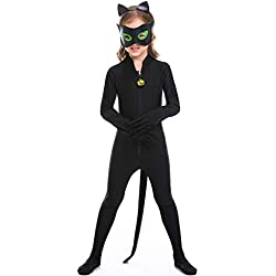 Ropa Mono De Juego De Animales De Gato Negro Neutro para Niños Medias Cosplay Uniforme Uniforme Disfraz De Fiesta De Disfraces Traje Uniforme @ Código Black_M