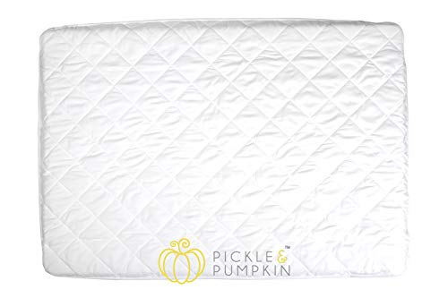 (Pickle & Pumpkin Pack N Play Crib Mattress Cover | Waterproof Crib Mattress Protector | Soft Fitted Mattress Cover for Pack n Play Mattress, Playard, Mini Crib, Playpen, Portable Cribs)