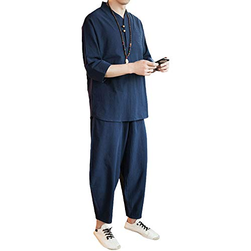 ZooBoo Chinese Clothing Tang Suit - Traditional ChinaCostume Martial Arts Tangzhuang Kung Fu Short Sleeve Shirt Linen Nine Pants for Men - Cotton and Linen (L, Blue) ()