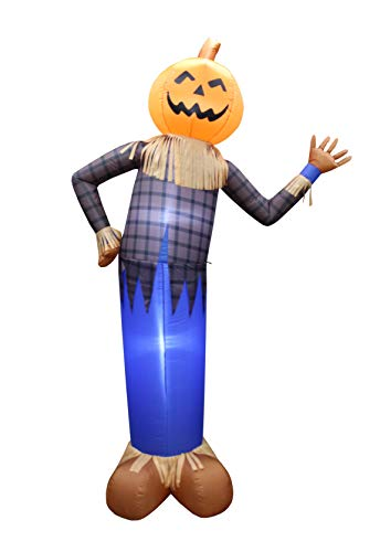 BZB Goods 6 Foot Tall Thanksgiving Halloween Inflatable Scarecrow Pumpkin Head Lights Lighted Blowup Party Decoration for Outdoor Indoor Home Garden Family LED Prop Yard Blow Up Lawn Decorations ()