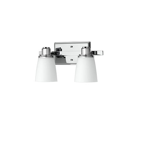 Linea 2 Light Sconce - Terracina Two-Light Vanity Sconce Lamp, Polished Chrome with Opal Glass Linea di Liara LL-WL220-2