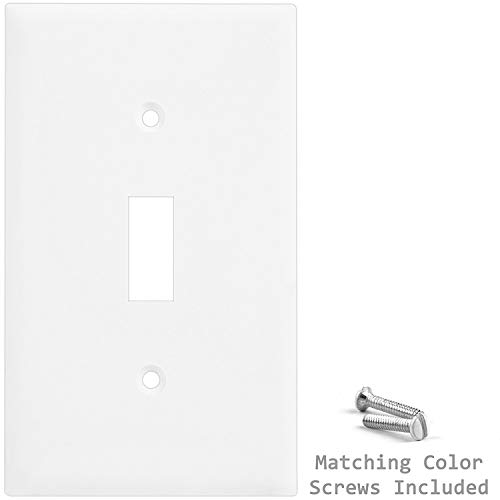 Enerlites 8811-W-10PCS Toggle Wall Plate, Standard Size 1-Gang, Unbreakable Polycarbonate, White (10 Pack) by ENERLITES (Image #4)