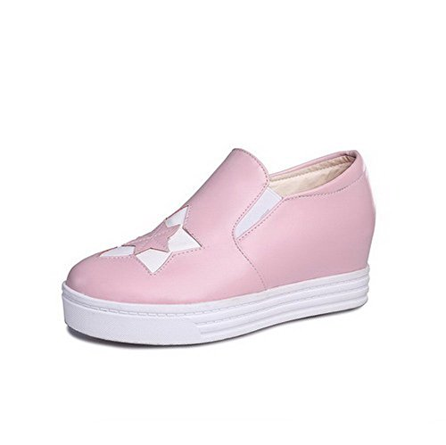 Amoonyfashion Womens Ronde Gesloten Teen Pull On Pu Assorti Kleur Kitten Hakken Pumps-shoes Pink