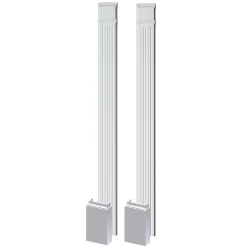 Fypon PIL9X102 9''W x 102''H x 3''P Fluted Pilaster, Adjustable Plinth Block (Set of 2) by Fypon