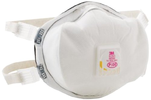 3M 8293 P100 Disposable Particulate Cup Respirator with Cool Flow Exhalation Valve, Standard (Case 20) by 3M