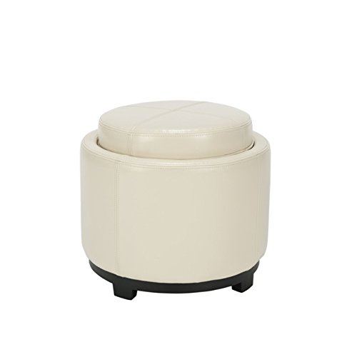 Safavieh Hudson Collection Bowery White Leather Round Tray Ottoman Review