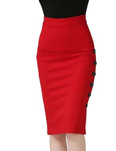 b56db299f YLL Mujer Tallas Grandes Faldas,Lápices Corte Bodycon Un Color ...