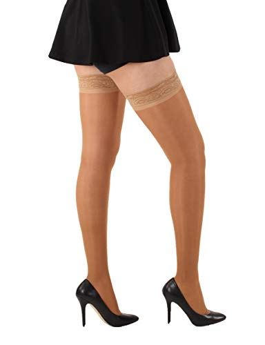 Sheer Compression Stockings, Thigh High with Grip Top, Medical Compression Stockings 20-30mmHg - Absolute Support Brand - SKU: A206 & Made in The USA (XXX-Large, Beige)