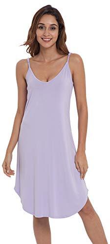 NEIWAI Womens Full Slip Spaghetti Chemise Nightgown Cami Dress Taro Purple XL