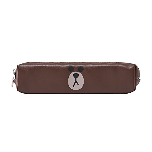 LINE FRIENDS Brown Stuffed Square Pencil Case 3 One Size Brown