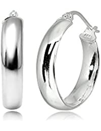 Sterling Silver Wide Thick High Polished Half Round-Tube Click-Top Hoop Earrings, Choose a Size