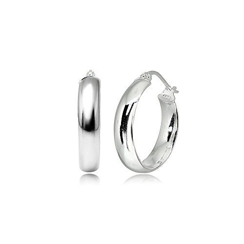 LOVVE Sterling Silver High Polished Half Round-Tube Click-Top Hoop Earrings, 5x20mm by LOVVE (Image #3)