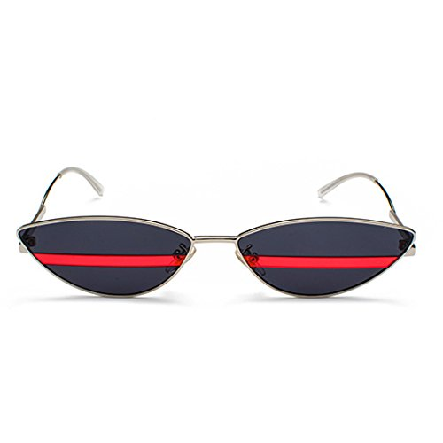 Sunglasses Ceniza Cat metal Eye Mujeres marco Sun Negra Plateada 90s Glasses Vintage Slim Retro Hombres Aiweijia TE4xgg