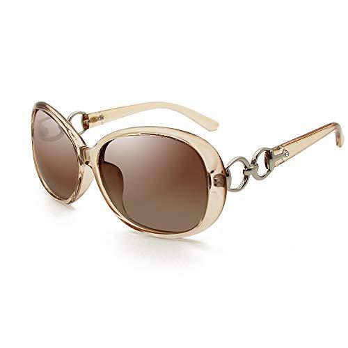 VeBrellen Luxury Women Polarized Sunglasses Retro Eyewear Oversized Goggles Eyeglasses (Transparent Brown Frame Brown Lens, ()