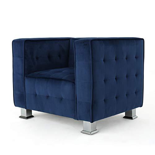 Bunta Tufted Modern Deco Navy Blue Velvet Arm Chair
