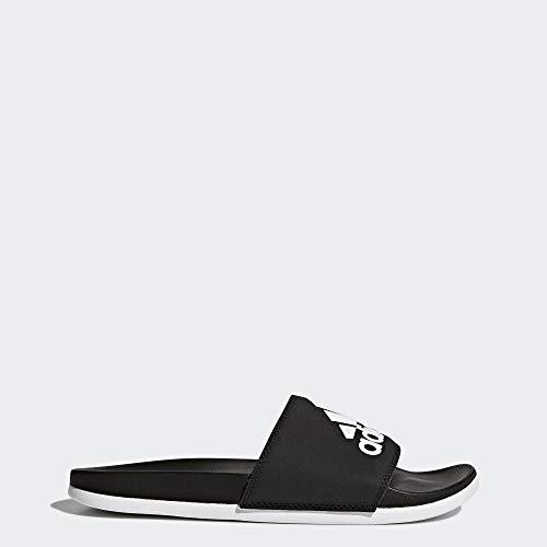 adidas Women's Adilette Comfort Sandal, White/Black, 8 M US