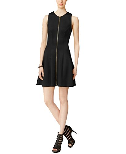 Bar III Zip-Front Fit & Flare Scuba Dress (Black, XXL) ()