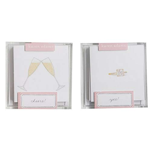Karen Adams Acrylic Wedding Gift Enclosures 12 Card Set Champagne Flutes (6) and Wedding Ring (6) Cards and Envelopes