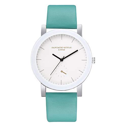 Women's Quartz Watch, Fashion Analog Wrist Watch Classic Calendar Date Window, Simple Comfortable PU Leather Watches (Mint Green)