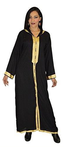 Moroccan Caftans Women Hand Made Breathable Hooded Caftan Fits Small To Medium Embroidered Black and Gold